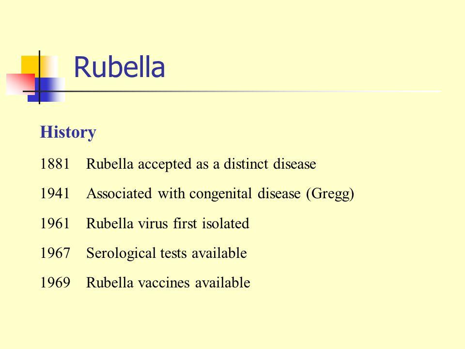 Rubella History 1881 Rubella accepted as a distinct disease