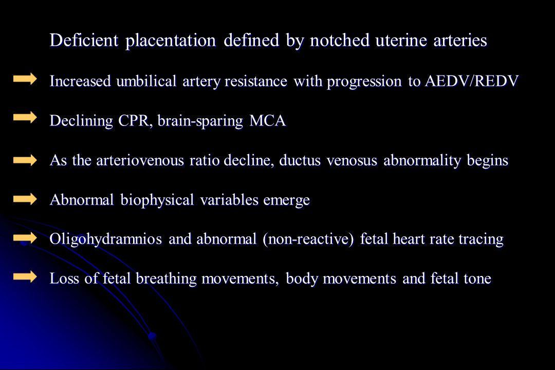 Deficient placentation defined by notched uterine arteries
