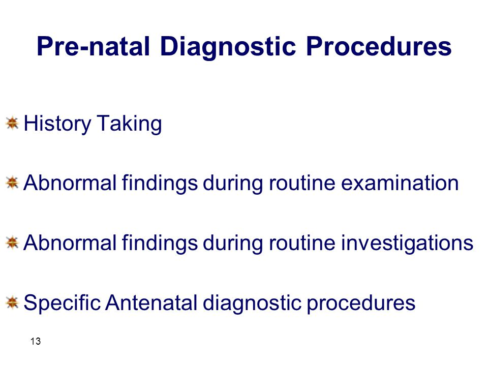 Pre-natal Diagnostic Procedures