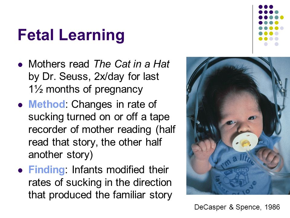 Fetal Learning Mothers read The Cat in a Hat by Dr. Seuss, 2x/day for last 1½ months of pregnancy.