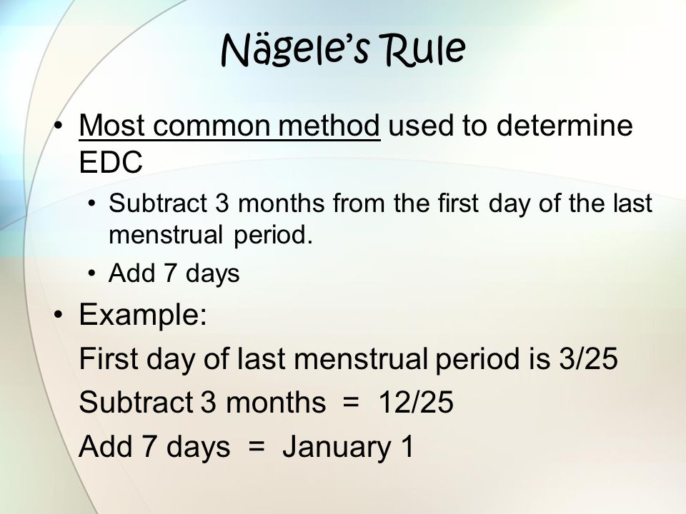 Nägele's Rule Most common method used to determine EDC Example: