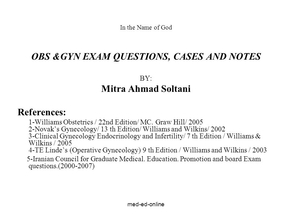 OBS &GYN EXAM QUESTIONS, CASES AND NOTES