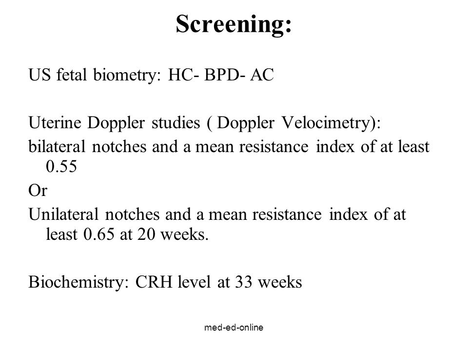 Screening: US fetal biometry: HC- BPD- AC
