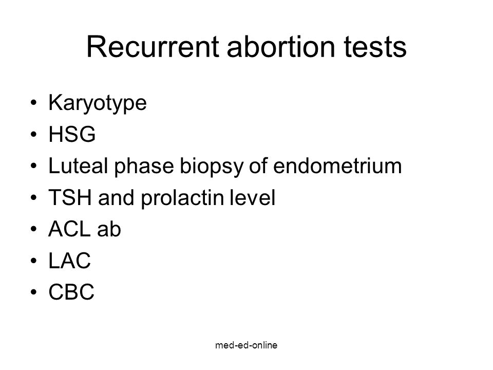 Recurrent abortion tests