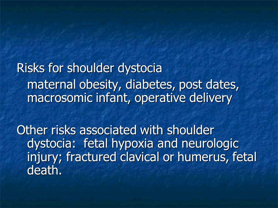 Risks for shoulder dystocia