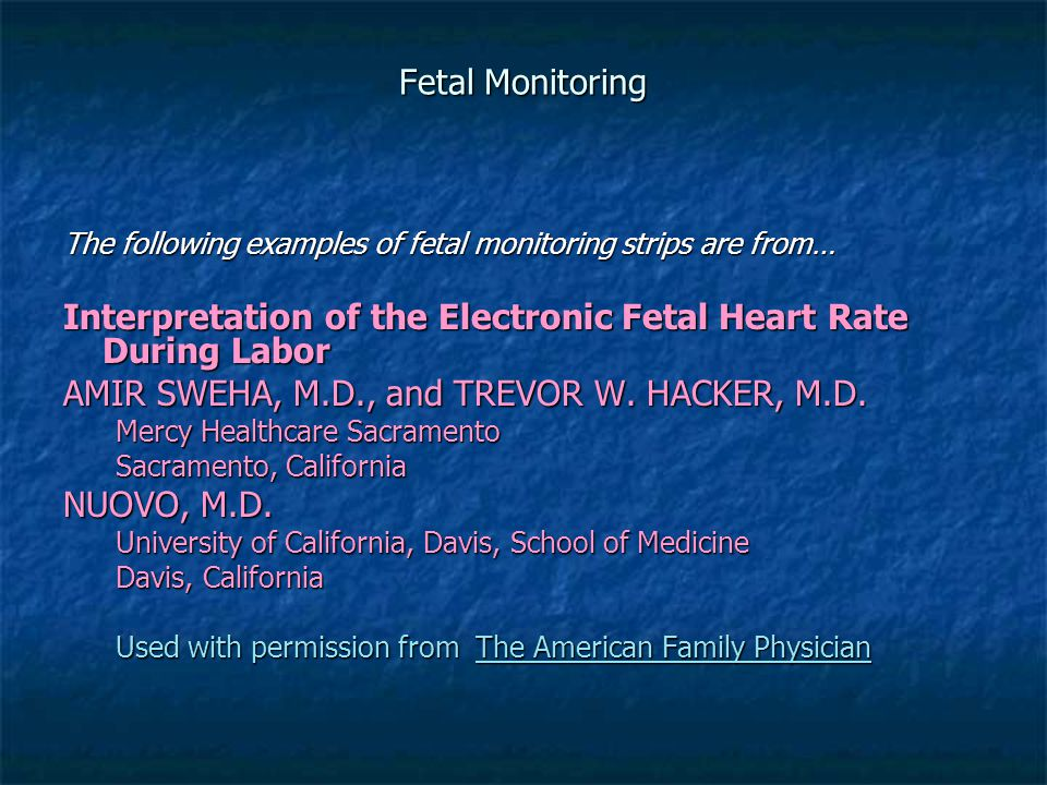Interpretation of the Electronic Fetal Heart Rate During Labor