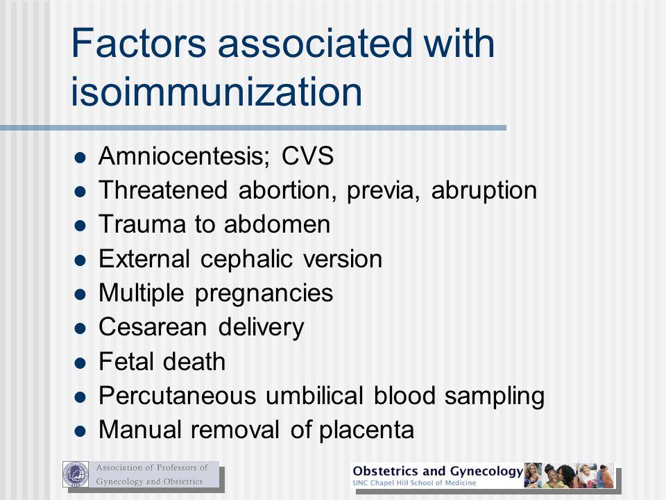 Factors associated with isoimmunization
