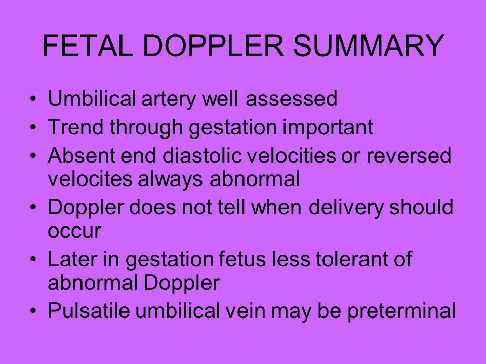 FETAL DOPPLER SUMMARY Umbilical artery well assessed