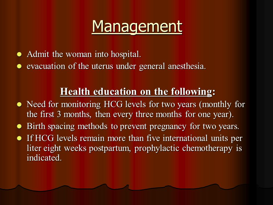 Health education on the following: