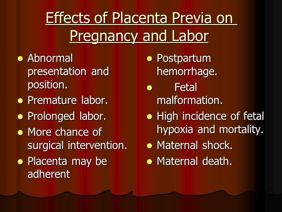 Effects of Placenta Previa on Pregnancy and Labor