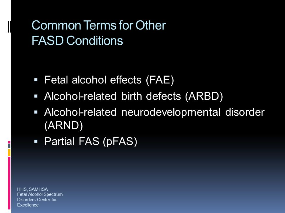 Common Terms for Other FASD Conditions