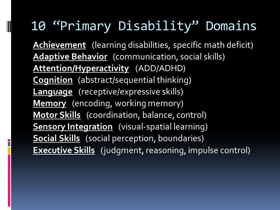 10 Primary Disability Domains
