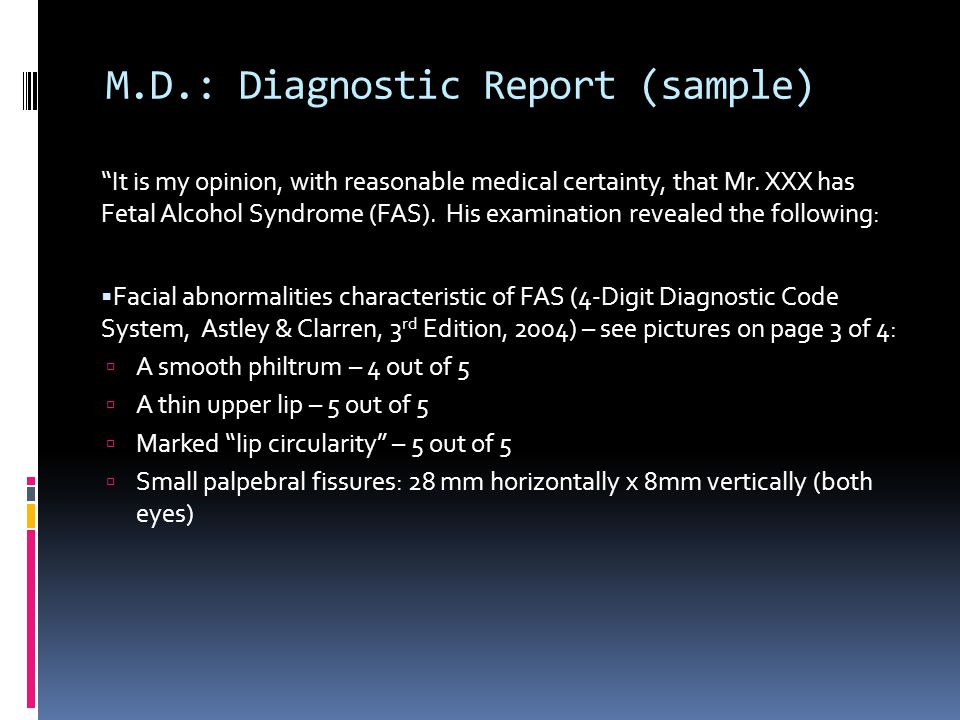 M.D.: Diagnostic Report (sample)