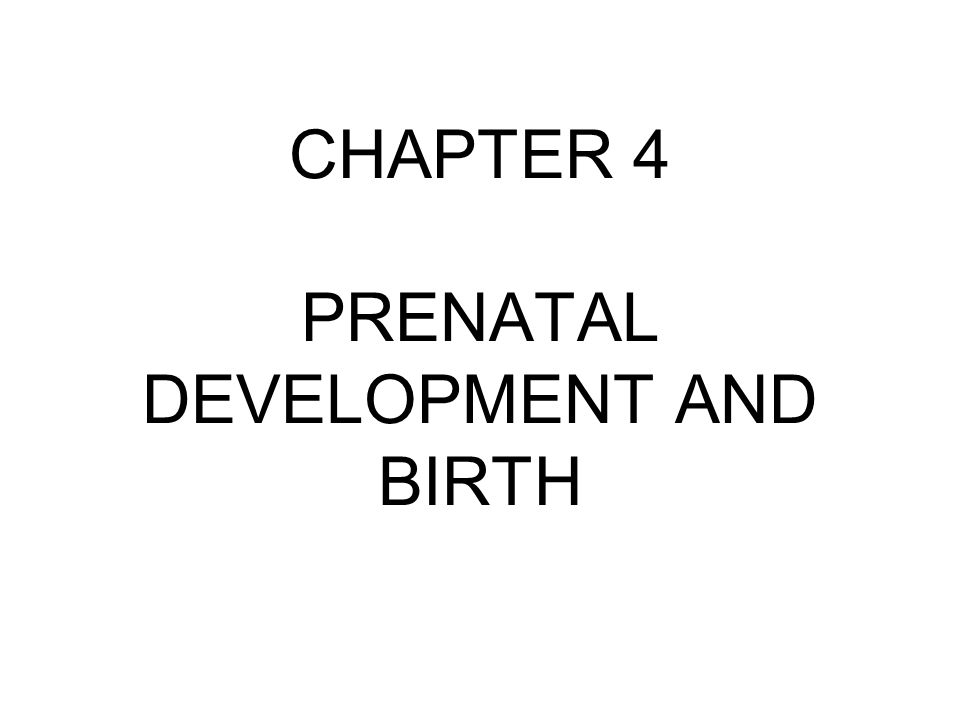 CHAPTER 4 PRENATAL DEVELOPMENT AND BIRTH