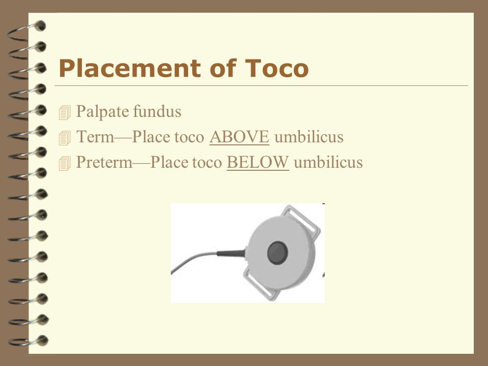 Placement of Toco Palpate fundus Term—Place toco ABOVE umbilicus
