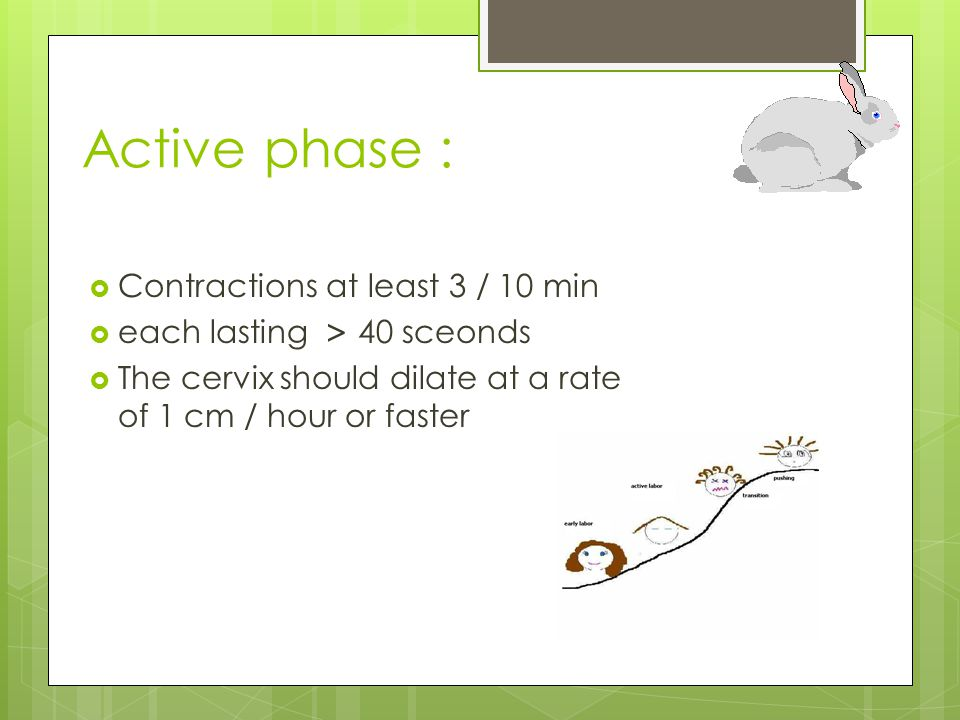 Active phase : Contractions at least 3 / 10 min