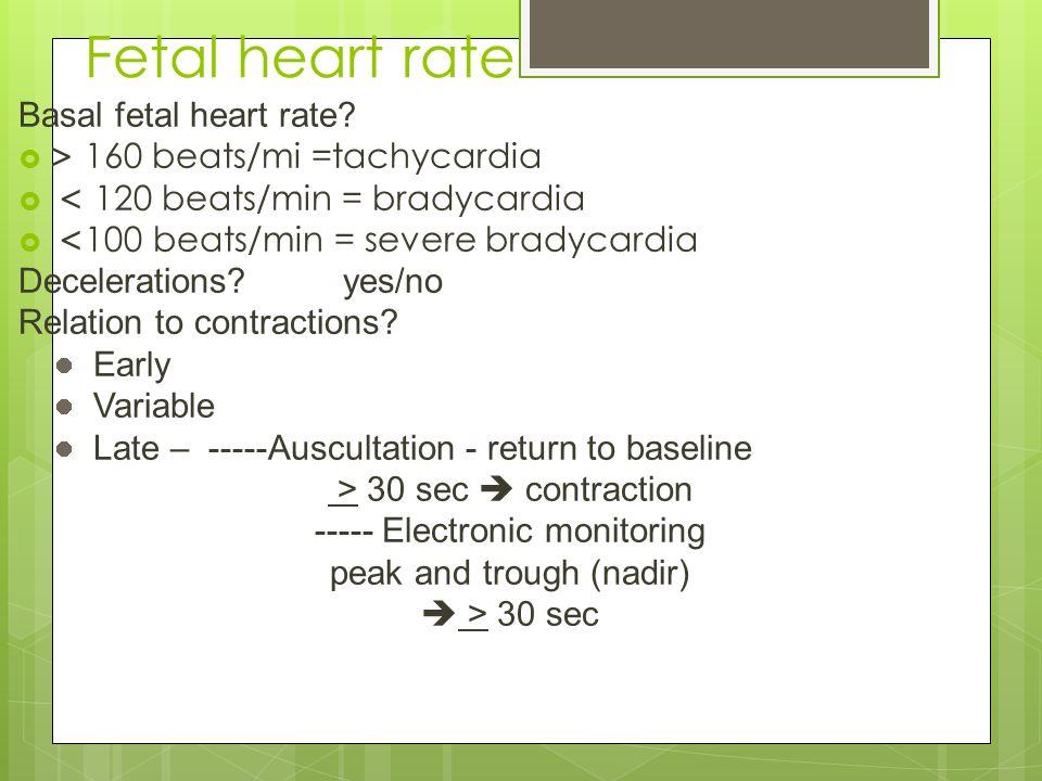 Fetal heart rate Basal fetal heart rate