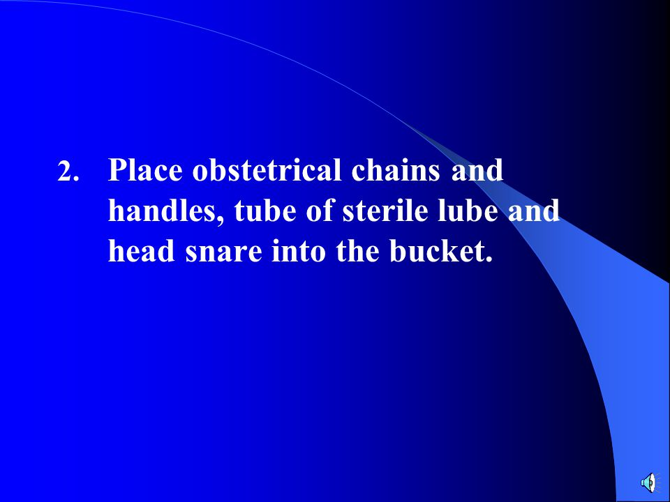 2. Place obstetrical chains and handles, tube of sterile lube and head snare into the bucket.