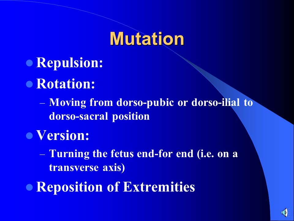 Mutation Repulsion: Rotation: Version: Reposition of Extremities