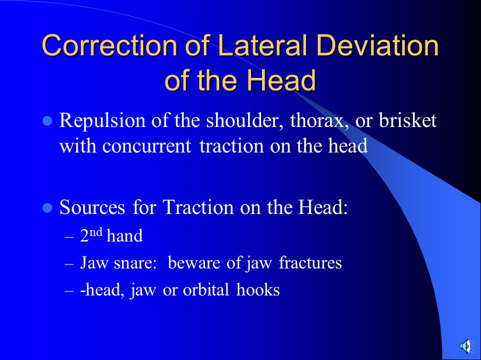 Correction of Lateral Deviation of the Head