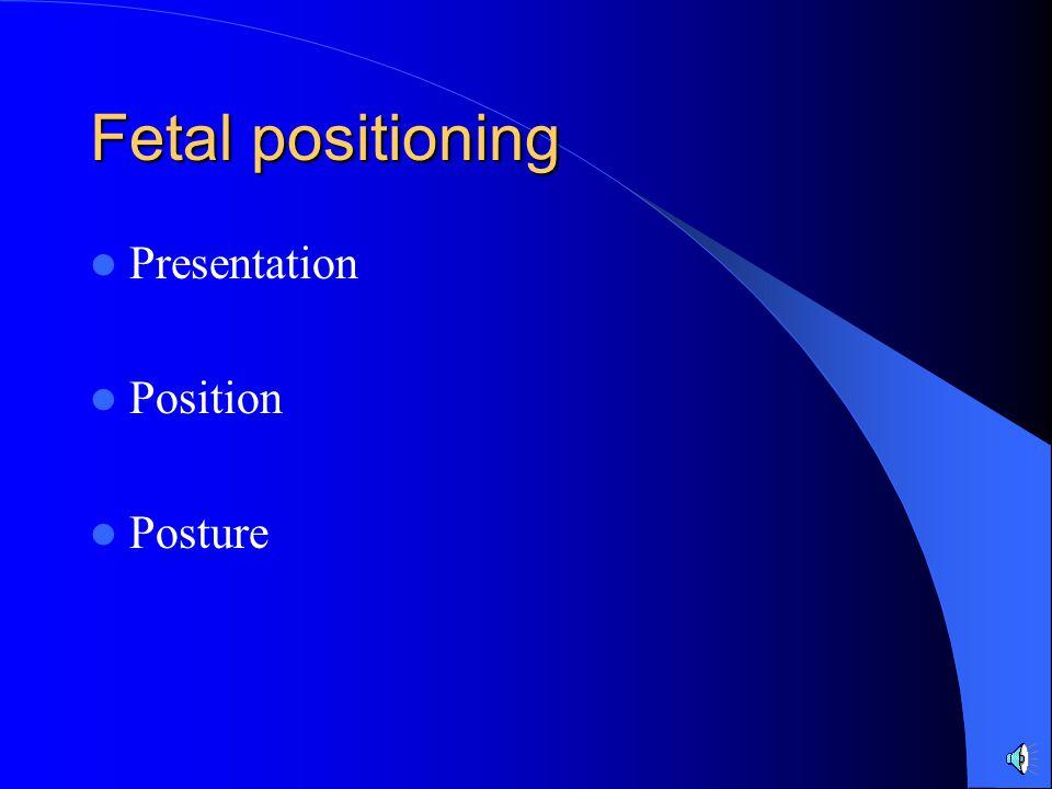 Fetal positioning Presentation Position Posture