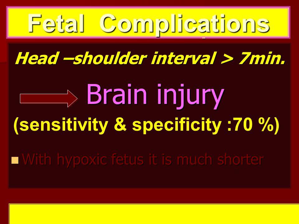 Head –shoulder interval > 7min. Brain injury