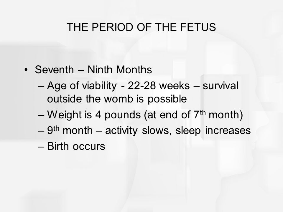 THE PERIOD OF THE FETUS Seventh – Ninth Months. Age of viability - 22-28 weeks – survival outside the womb is possible.