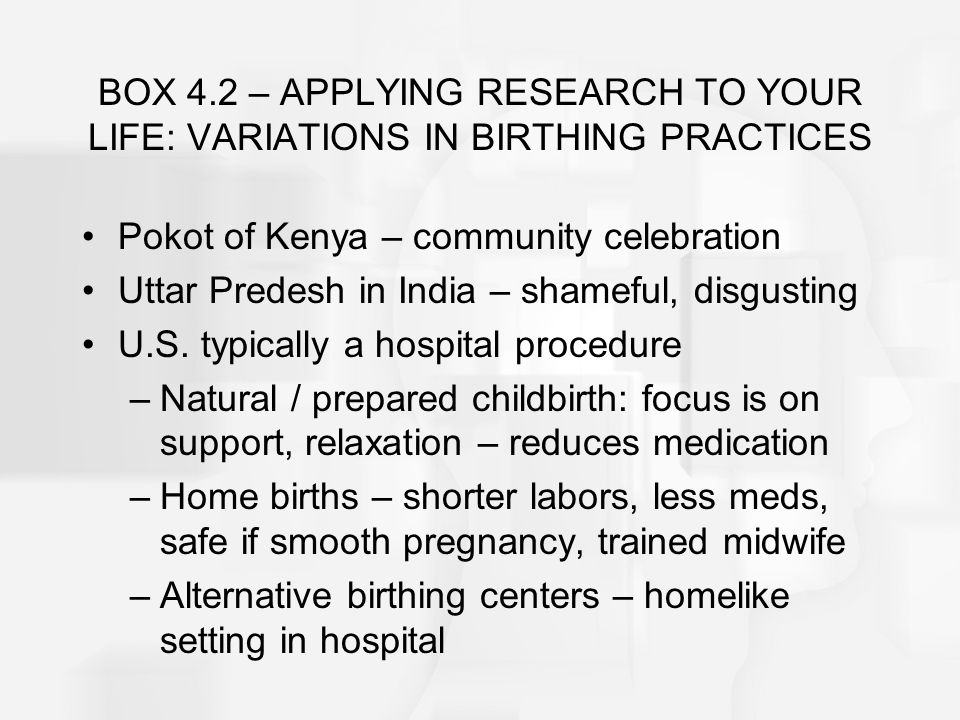 BOX 4.2 – APPLYING RESEARCH TO YOUR LIFE: VARIATIONS IN BIRTHING PRACTICES