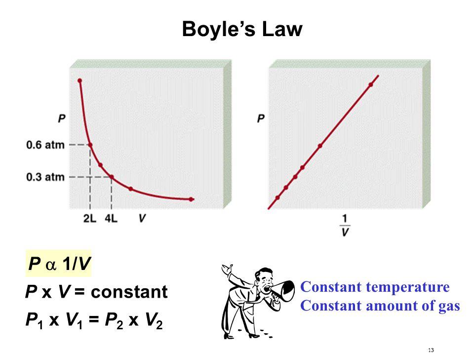 Boyle's Law P a 1/V P x V = constant P1 x V1 = P2 x V2