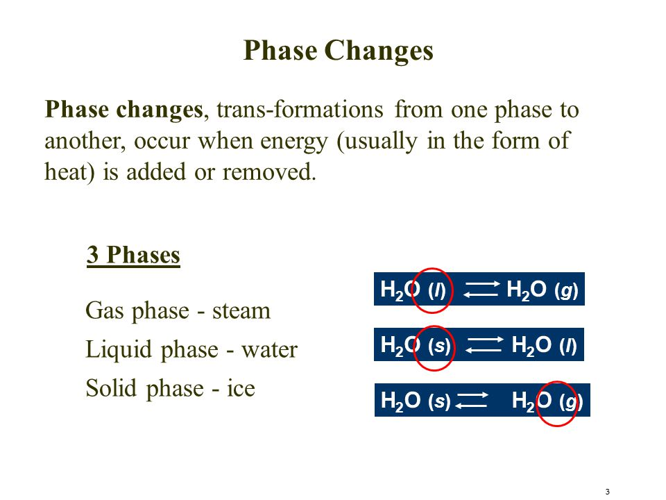 Phase Changes Phase changes, trans-formations from one phase to another, occur when energy (usually in the form of heat) is added or removed.
