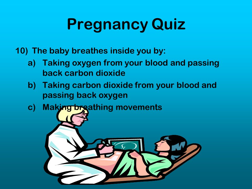 Pregnancy Quiz The baby breathes inside you by: