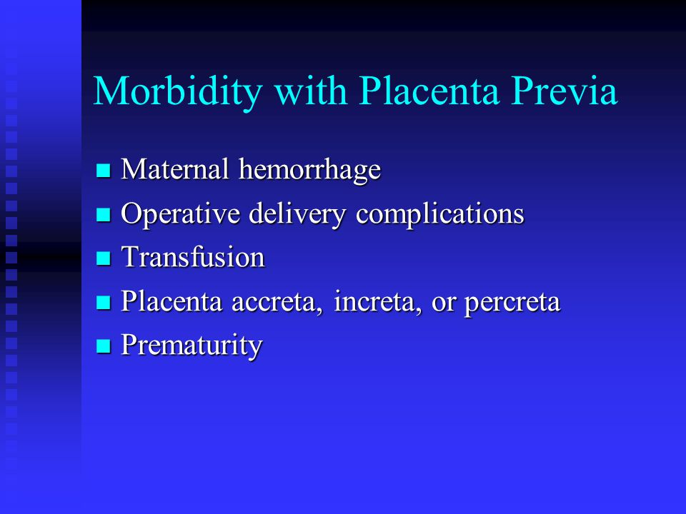 Morbidity with Placenta Previa