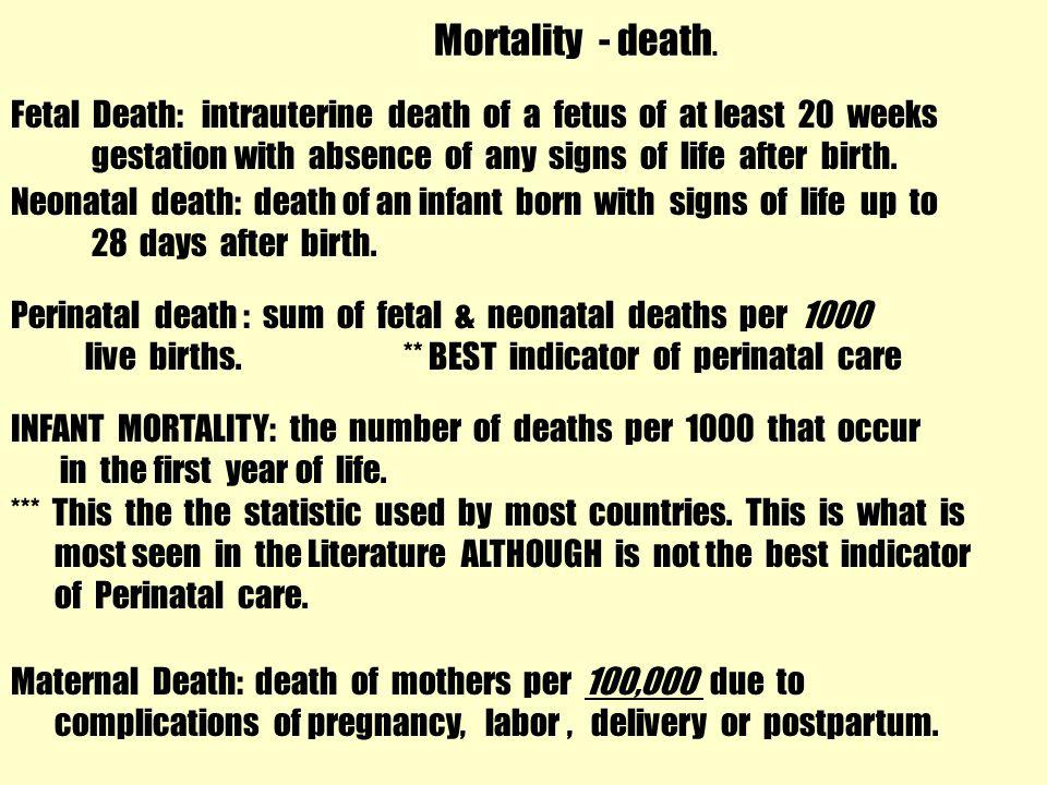 Mortality - death. Fetal Death: intrauterine death of a fetus of at least 20 weeks.