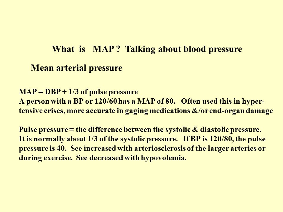 What is MAP Talking about blood pressure
