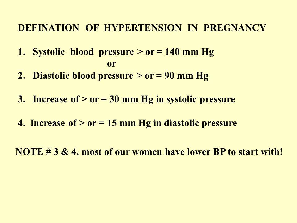 DEFINATION OF HYPERTENSION IN PREGNANCY