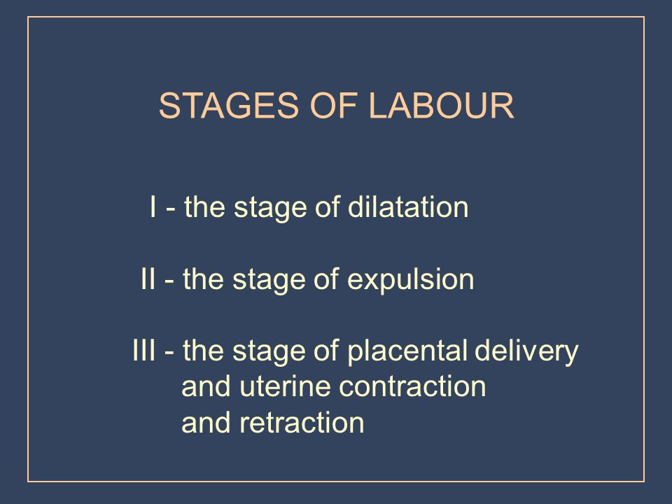 STAGES OF LABOUR II - the stage of expulsion