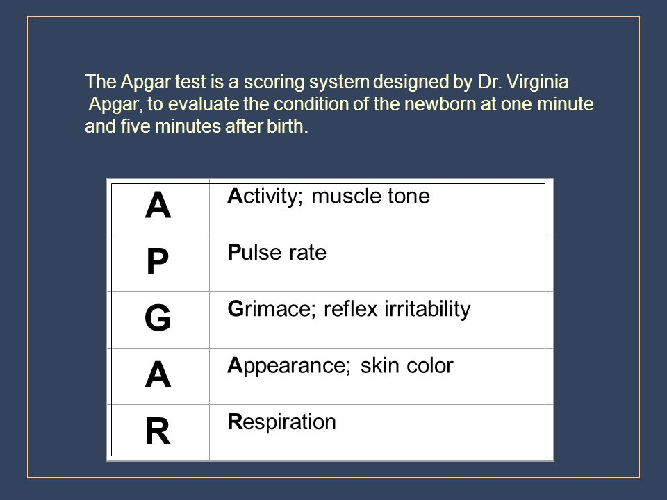 A P G R Activity; muscle tone Pulse rate Grimace; reflex irritability