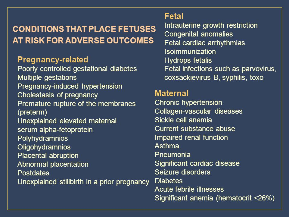 CONDITIONS THAT PLACE FETUSES AT RISK FOR ADVERSE OUTCOMES