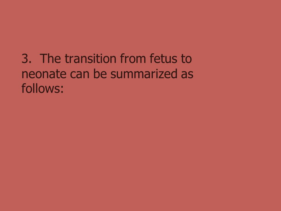 3. The transition from fetus to neonate can be summarized as follows: