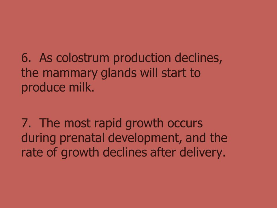 6. As colostrum production declines, the mammary glands will start to produce milk.