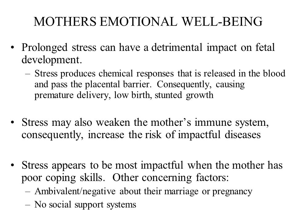 MOTHERS EMOTIONAL WELL-BEING