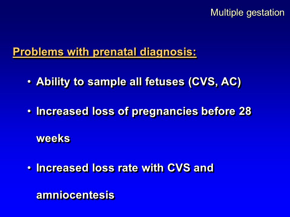 Problems with prenatal diagnosis: