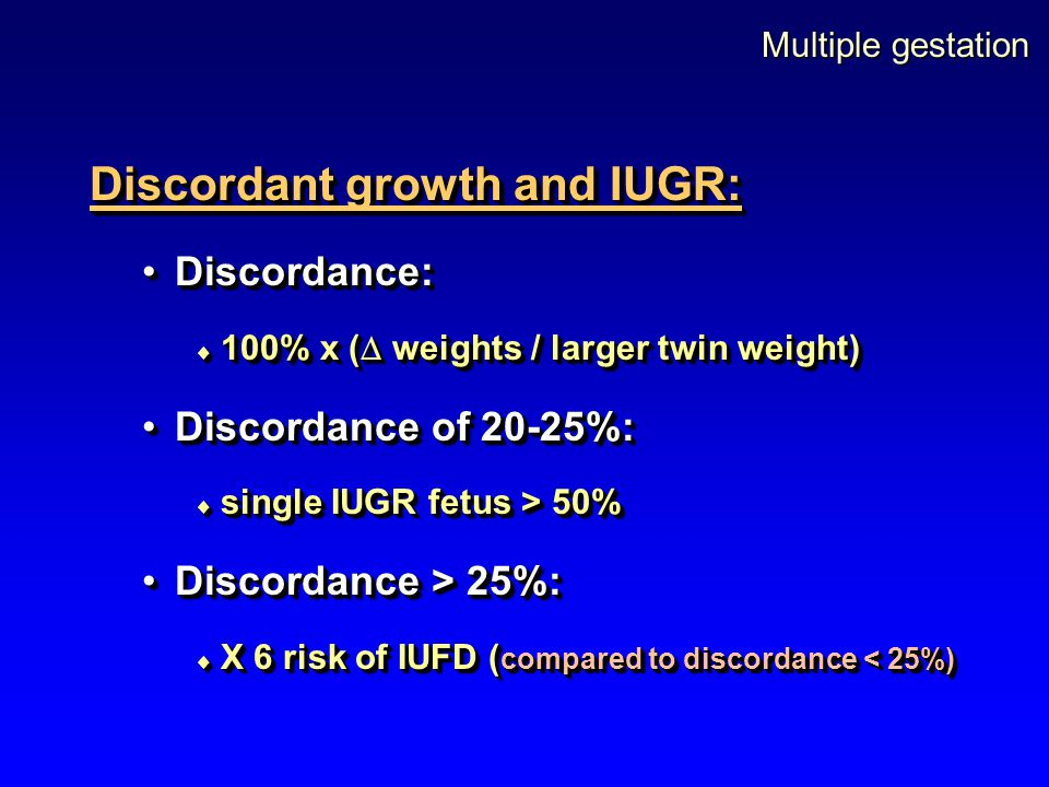 Discordant growth and IUGR: