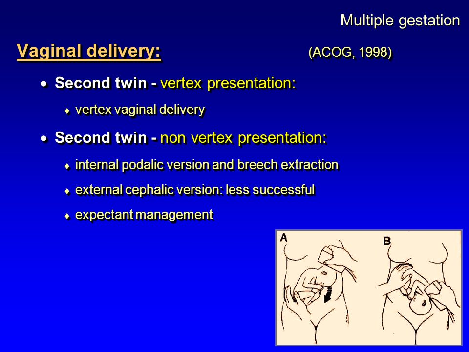 Vaginal delivery: (ACOG, 1998)
