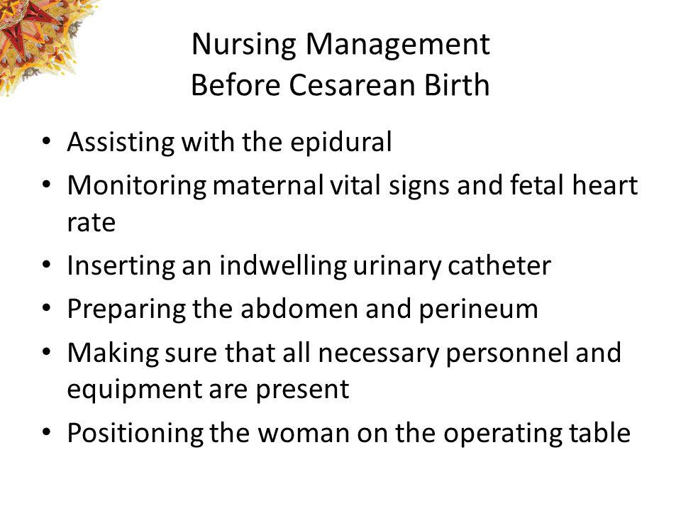 Nursing Management Before Cesarean Birth