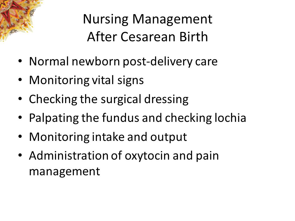 Nursing Management After Cesarean Birth
