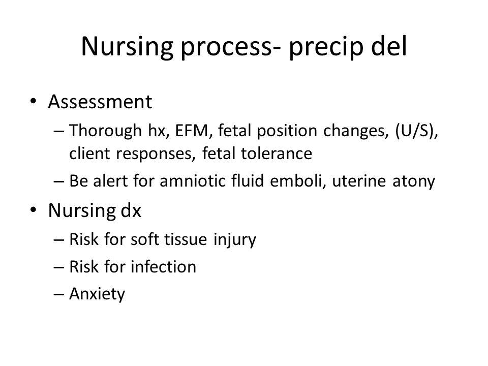 Nursing process- precip del