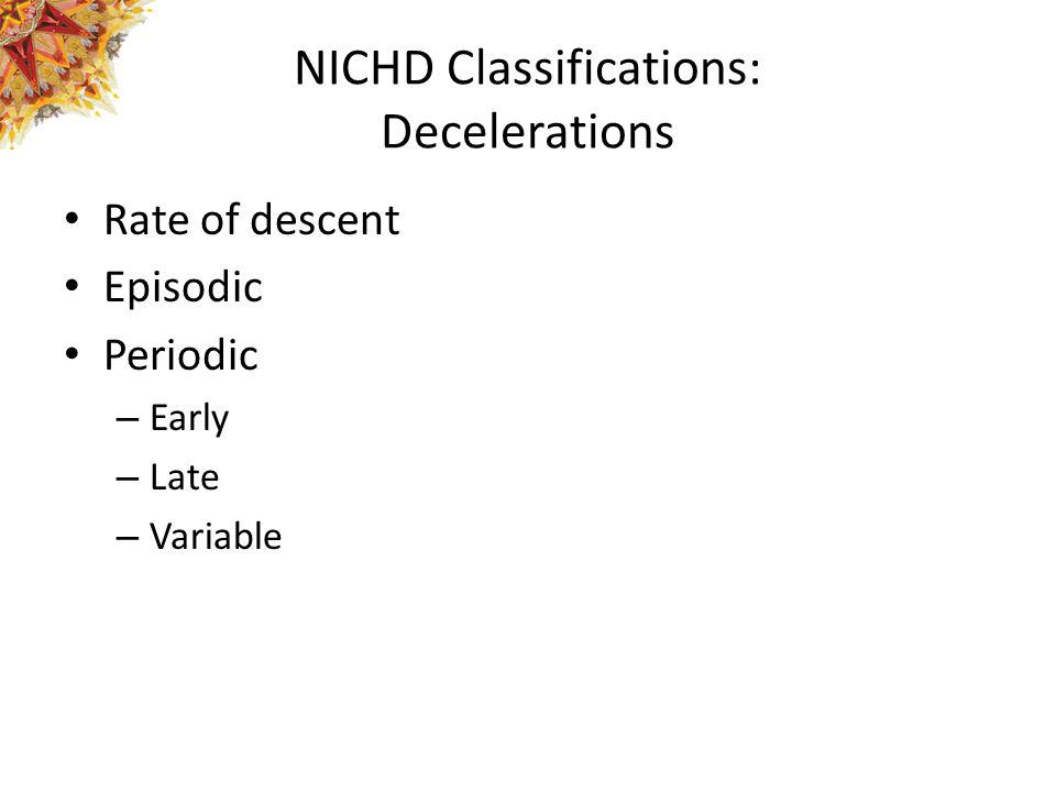 NICHD Classifications: Decelerations