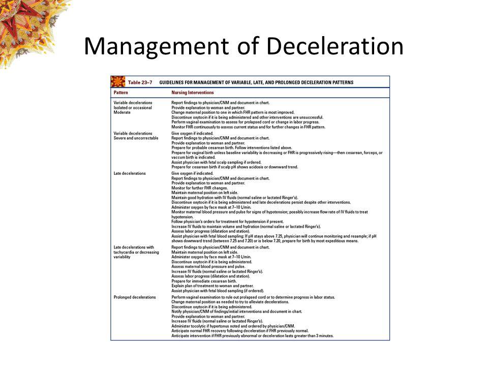 Management of Deceleration