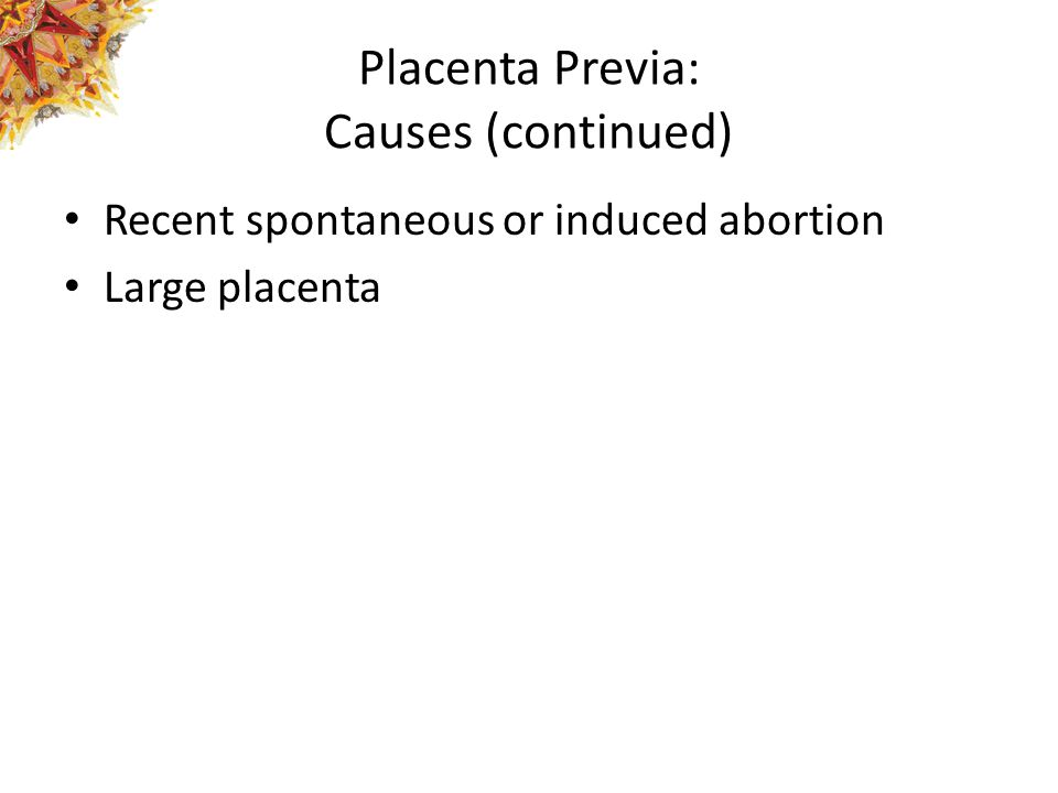 Placenta Previa: Causes (continued)